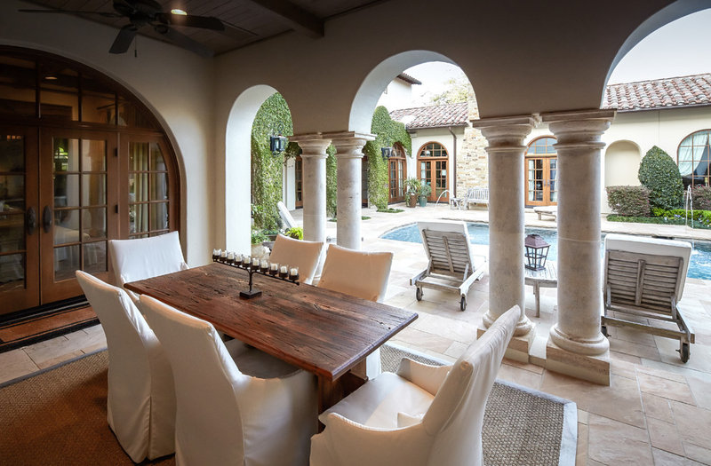 Mediterranean Patio by Thompson Custom Homes
