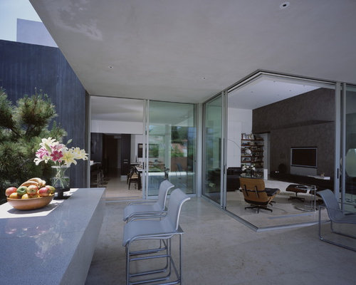 1950s Concrete Patio Photo In Los Angeles With A Roof Extension