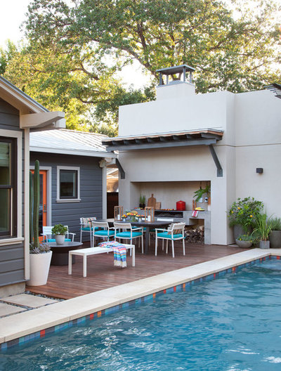 Transitional Patio by B. Jane Gardens