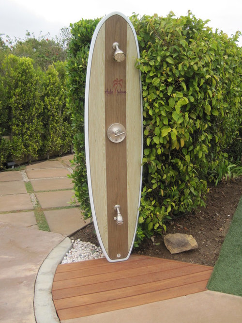 Surfboard shower design ideas remodel pictures houzz for Diy outdoor shower surfboard