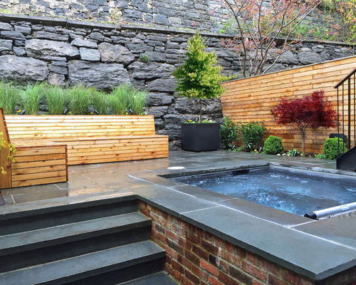 Merveilleux Brooklyn Heights Bluestone Patio Garden Design   Spa, Fencing, Bluestone,  Bench