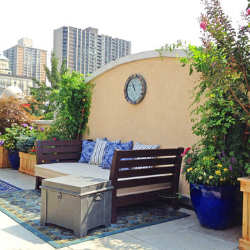 Brooklyn, NYC Terrace: Roof Garden, Deck, Patio, Planter Boxes, Rug, Seating
