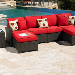 San Diego Outdoor Furniture - Cabo Sectional with 2 Ottomans and End Table. Shown in Sunbrella fabric.
