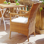Cape Coral Outdoor Wicker Dining Chair - Cape Coral outdoor wicker dining chair come in natural or mocca finish.
