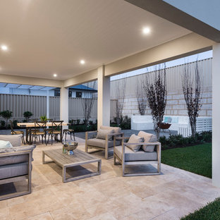 Inspiration for a contemporary patio in Perth with tile and a roof extension.