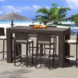 Caribbean Collection Outdoor Bar Stools - The Caribbean Collection outdoor stool has an aluminum frame wrapped with outdoor wicker. A matching table is also available.