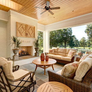 Patio - traditional patio idea in Charlotte with a fire pit