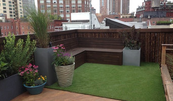 cedar bench with artificial turf and planters