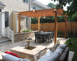 "Cedar pergola - Great for sunny sights that are in need of a little shade!  This particular pergola is 10'-6"" x 12""-6"" in size and 8'-6"" tall.  This design could be constructed in several different materials."