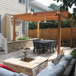 """Cedar pergola - Great for sunny sights that are in need of a little shade!  This particular pergola is 10'-6"""" x 12""""-6"""" in size and 8'-6"""" tall.  This design could be constructed in several different materials."""