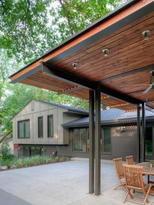 Contemporary Backyard Patio Idea In Omaha With A Pergola