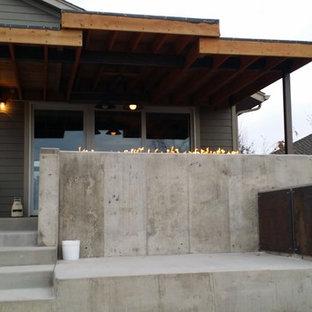 Cette image montre une terrasse et balcon arrière urbaine de taille moyenne avec un foyer extérieur, une dalle de béton et une extension de toiture.