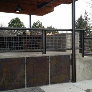Idee per un patio o portico industriale di medie dimensioni e dietro casa con un focolare, lastre di cemento e un tetto a sbalzo