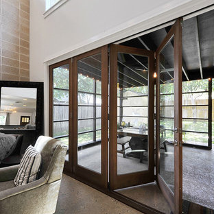 Retractable Gl Doors Patio Transitional Idea In Austin With A Roof Extension