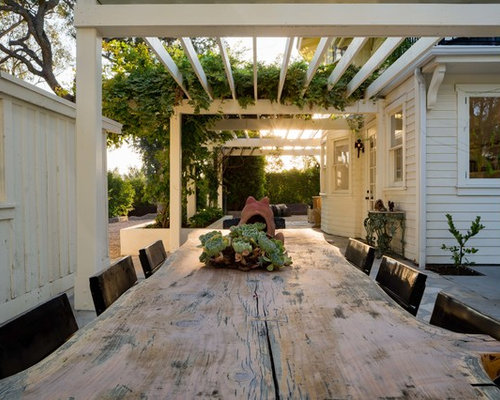 Inspiration For A Huge Farmhouse Front Yard Concrete Paver Patio Remodel In  Santa Barbara With A