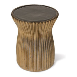 Ceramic Outdoor Stool - The ceramic Ridged outdoor stool has a two-tone finish in several color combinations.