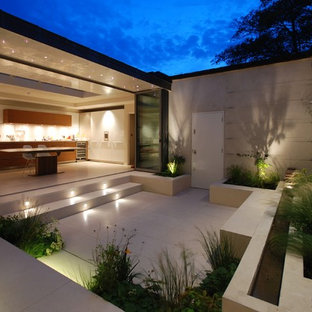 Contemporary courtyard patio in London with concrete slabs and no cover.