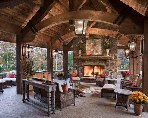 Exposed-Truss Roof Framing Patio Design Ideas, Remodels & Photos ...