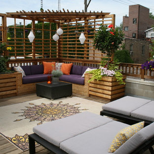 Inspiration for a traditional patio in Chicago with a pergola and decking.
