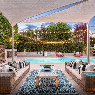 Cette photo montre une terrasse avec des plantes en pots arrière tendance avec des pavés en béton et un auvent.