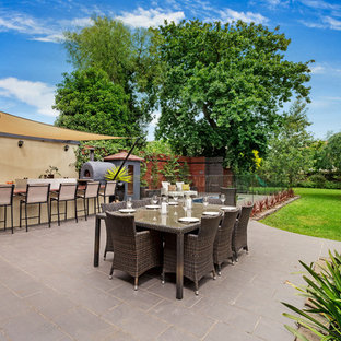 Design ideas for a victorian backyard patio in Melbourne with concrete pavers and no cover.