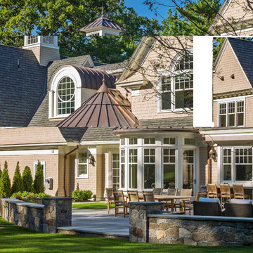 Classical New England Shingle and Stone Home