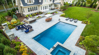 Clean line contemporary swimming pool and outdoor living area Wyckoff NJ
