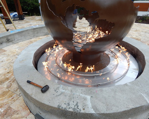 custom outdoor fire pit with metal globe. Black Bedroom Furniture Sets. Home Design Ideas