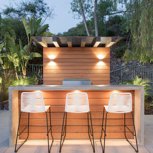 Patio kitchen - contemporary backyard concrete patio kitchen idea in San Diego