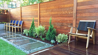 Cobble Hill, Brooklyn Garden Design - Backyard with Stepping Stones, Turf, Fence