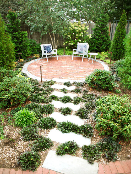 Small Transitional Backyard Brick Patio Photo In Boston