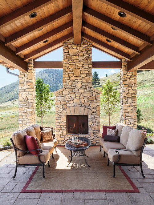 covered outdoor fireplace | houzz