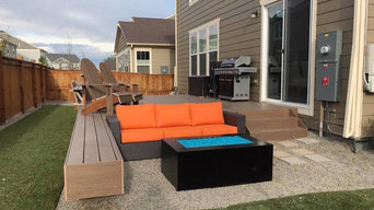 Colorful Patio with Steel Fire Pit