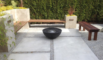 Concrete Planters w/ Ipe Bench & Poured Pavers (Before/After)