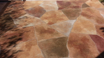 concrete staining Huntington Beach Ca. cracks repaired thenmade part of design