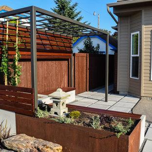 Ispirazione per un piccolo patio o portico etnico con pavimentazioni in cemento e una pergola