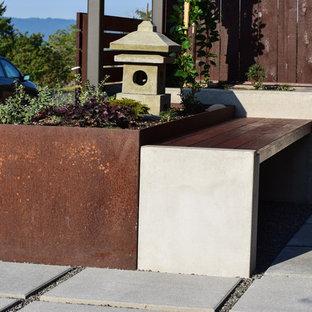 Foto di un piccolo patio o portico etnico davanti casa con un giardino in vaso, pavimentazioni in cemento e una pergola