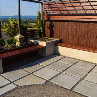 Esempio di un piccolo patio o portico etnico davanti casa con pavimentazioni in cemento e una pergola