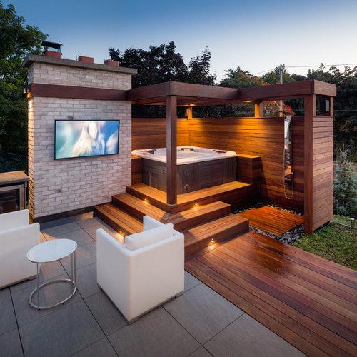 geflieste outdoor-gestaltung mit gartendusche: ideen für ... - Gartendusche Ideen
