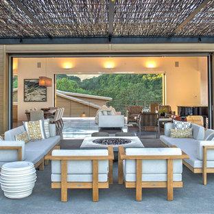 Foto di un grande patio o portico contemporaneo nel cortile laterale con un focolare, lastre di cemento e un tetto a sbalzo