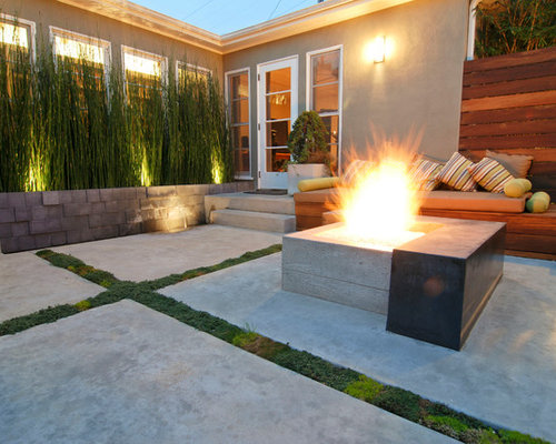 Great Inspiration For A Contemporary Patio Remodel In San Diego With A Fire  Feature And Concrete Slab