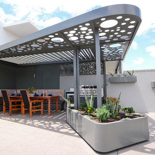Photo of a contemporary patio in Sydney with a container garden and an awning.