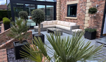 Contemporary Planters with Traditional Trees