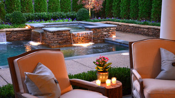 Contemporary Pool and Spillover Spa