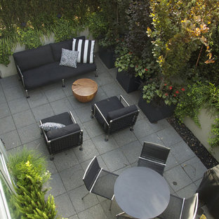 Example of a mid-sized trendy courtyard concrete paver patio container garden design in Vancouver with no cover