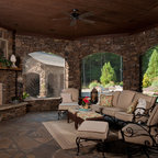 Fire pit, sport court, oversized paver patio - Traditional ...