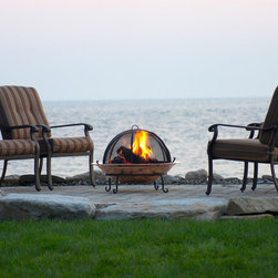 Copper Fire Pit Bowls - Wonderful 18 gauge Copper Fire Pit. Perfect for a lakeside patio or seating area. Available in 24, 30 and 36 inches and includes stand, bowl and grate. Spark screen available separately.