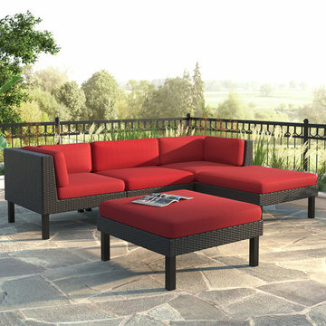CorLiving Oakland 5-Piece Sofa with Chaise Lounge Patio Set