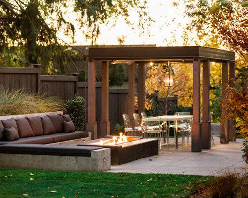 patio contemporary backyard concrete patio idea in seattle with a fire pit and a pergola - Concrete Patio Designs