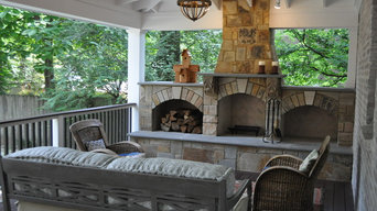 Covered Composite Deck and Formal Outdoor Fireplace